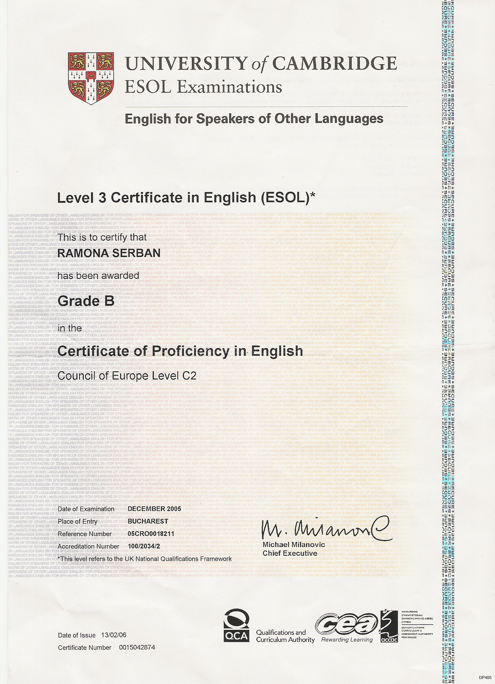 Cambridge Proficiency Certificate